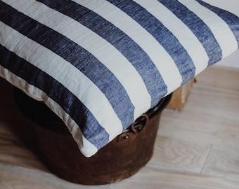 Navy Blue Linen Striped Pillow Case / Natural Linen Sham / Pillow Cover/ Natural Linen / Bedroom Linen / Bedding /