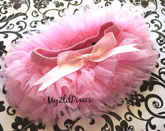 PINK TUTU BLOOMER ruffles all the way around,Chiffon Baby Bloomer, Diaper cover, photo prop, newborn bloomer  -ready to ship-