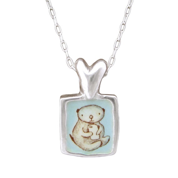 Otter love necklace silver and enamel sea otter pendant aloadofball Image collections