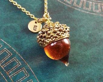 Acorn Necklace Acorn Jewelry Glass Acorn Charm Necklace Gold Acorn Pendant Necklace Squirrel Jewelry Nature Jewelry Custom Initial Jewelry