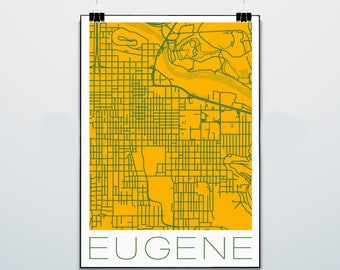 Eugene - Oregon - Map - Tigers - Print - Poster - Street Map - Oregon Ducks