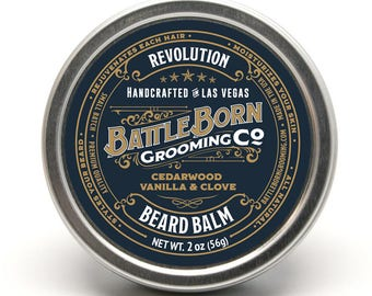 Revolution Beard Balm (Cedarwood / Vanilla / Clove) | All Natural Beard Conditioning Balm | 2 oz | 56 g