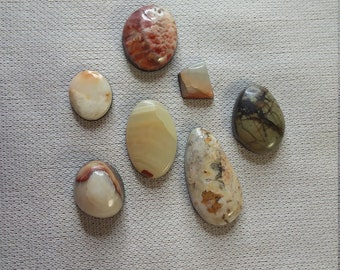 40% OFF Assorted Onyx & Marble Oval, Square Freeform Cabochons/ backed/ seconds/ set of 7
