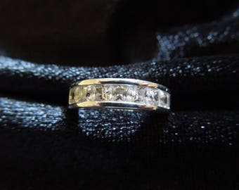 Vintage Costume Ring, Size 6.25, Silver Toned with Faux Diamonds.  Nice