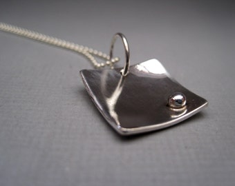Sterling Silver Simple Square with Dot Necklace