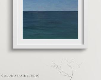 Modern Blue Art Print, Abstract Ocean Photograph, Minimalist Seascape, Landscape Photography, Nautical Decor, Seascape Beach Decor, Hawaii