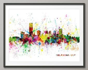 Oklahoma City Skyline Cityscape,Art Print (2478)