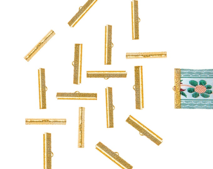 150 pieces  35mm (1 3/8 inch)  Gold Ribbon Clamp End Crimps - Artisan Series