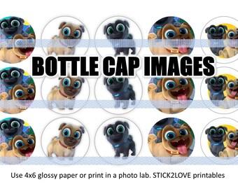 "puppy dog pals printables  4x6 - 1"" circles, bottle cap images, puppy puppies"