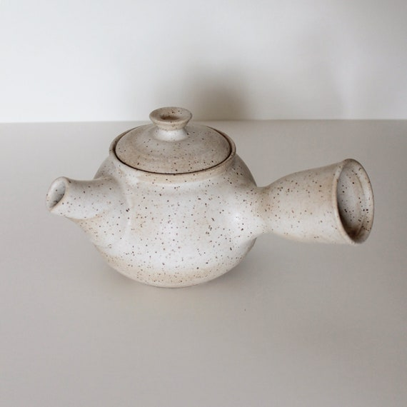 Tea Pot, Rustic Tea Pot, Small Teapot, Japanese Tea Pot, White Tea Pot, Speckled White Tea Pot