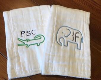 Monogram Burp Cloth, Baby Shower Gift, Personalized Burp Cloth, Baby Gift, Cloth Diaper