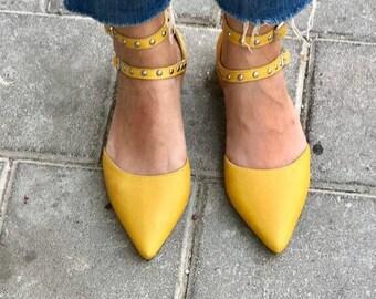Yellow shoes-leather women shoes - Lauren  1.5 cm heel