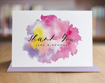 Personalized Thank You Note Card Set /  Watercolor Thank You Cards / Set of 10 Folded Shimmer Note Cards - T331
