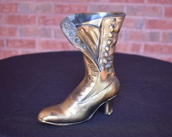 Vintage Brass Plated Victorian Boot Planter ENIG 1624
