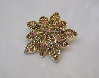 Classic Vintage Gold Flower Brooch Pin with Pink Jewels, Free Shipping