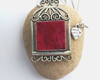 Handmade Bird cage Felt Pendant Necklace