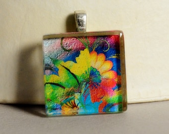 5 Dollar Deal - 5 and Under - Abstract Floral Glass Tile Pendant #1 - Modern Floral Pendant