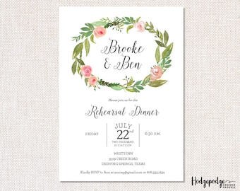 Rose Wreath Rehearsal Dinner PRINTABLE Invitation