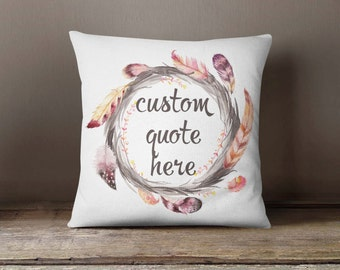 Personalized Pillowcase Circle Feathers | Decorative Throw Pillow Cover | Cushion Case | Designer Pillow | Birthday Gift Idea For Him & Her