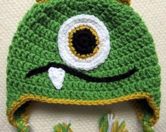 Crochet Green Monster Hat, crochet hats for kids, baby hats, monster birthday, kids crochet hats, unique baby gift, monster baby shower