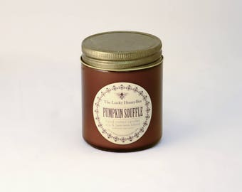 Pumpkin Soufflé Candle || 8.5 oz Scented Candle || Soy + Beeswax Blend Candle in Amber Jar