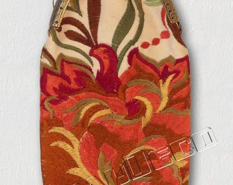 Glasses case-Designer flowers embroidered pink Indian/plum/copper/green/yellow/brown on ivory background