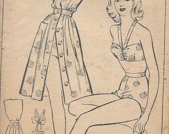 1940s Vintage Sewing Pattern B34 Sun Suit - Dress - Pantie & Brassiere (R747) Style 4758