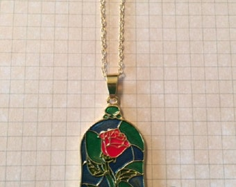 Rose Necklace - Rose Jewelry - Mosaic Necklace - Mosaic Jewelry - Dome Necklace - Red Rose Necklace - Green Necklace - Champagne God - Rose