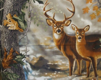 Deer in the Woods Panel, Sykel,Real Tree Fabric