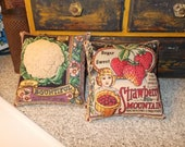 Primitive Spring pillow tucks, strawberry, cauliflower, garden decor, farmhouse kitchen, shelf pillows, cupboard tucks, gardener's gift