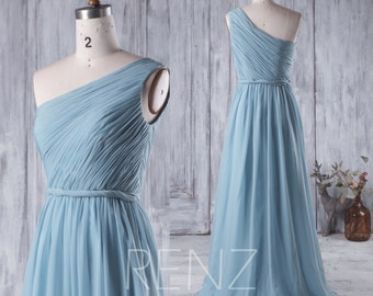 Bridesmaid Dress Dusty Blue Chiffon Dress,Wedding Dress,Long One Shoulder Prom Dress,Sleeveless Maxi Dress,Ruched A-line Party Dress(H218A)