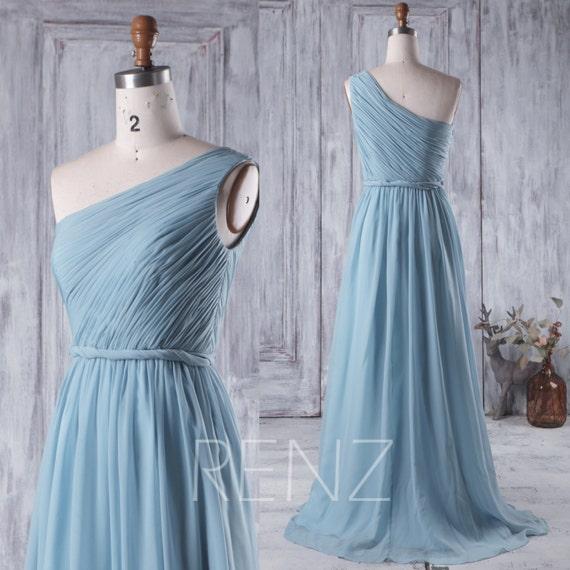 Dusty blue chiffon dress