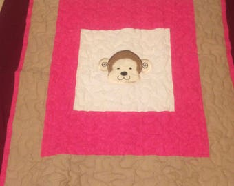 Pink and Brown Monky Head Quilt