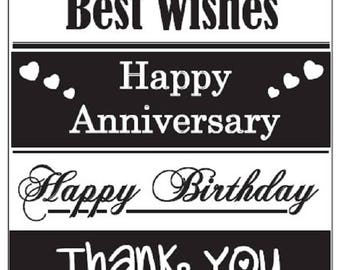 Embossing Folder GENERAL GREETINGS Birthday Anniversary Words Mixed Message A6 Craft Card Making Scrapbooking