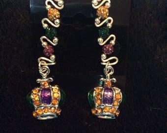 Mardi Gras earclimbers with Crown charms