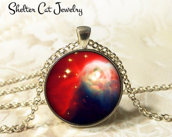 "Cone Nebula Necklace - 1-1/4"" Circle Pendant or Key Ring - Wearable Art Photo - Celestial, Galaxy, Constellation, Space, Universe, Gift"