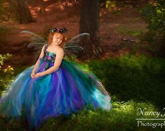 Peacock Fairy Flower Girl Dress / Flower Girl Dress / Princess Dress / Festival Clothing / Girls Dresses / Peacock Wedding /Summer Dress