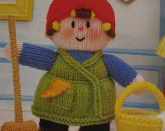 Handmade Knitted Mrs Mopitup Part Of The Little Dumpling Dolls Village People (New, Made To Order) 3+