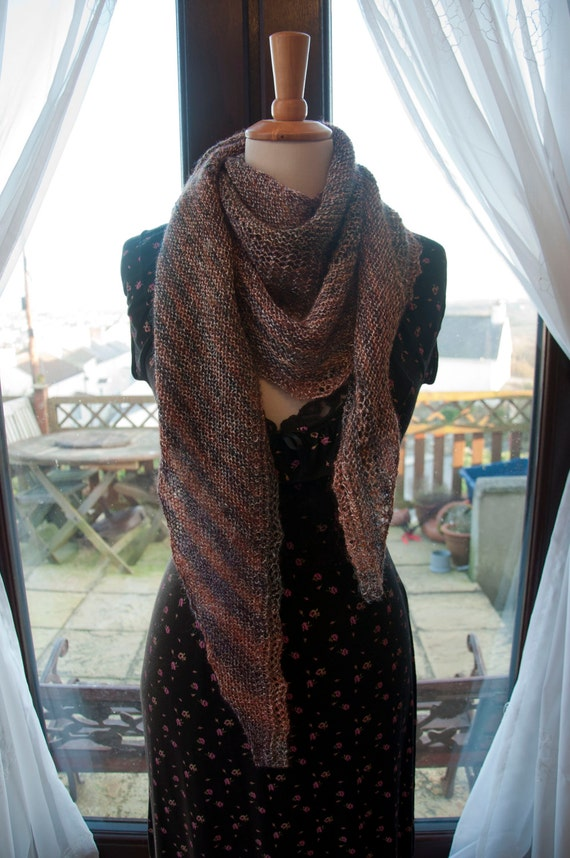 Handknitted Sparkled Shawl in Shades of Brown and Bronze