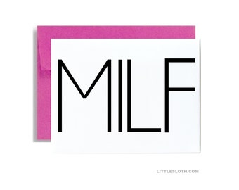 milf mothers day card funny - mother I'd like to f mature card - mom birthday naughty MILF pink