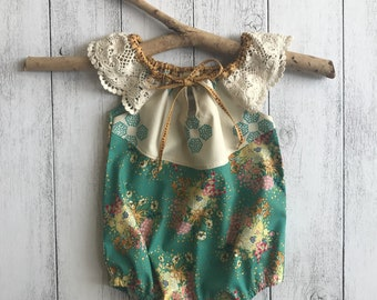 Free Spirit Romper with Lace sleeves and tie: Indie Folk Remix,  Size 000, 00, 0, 1, 2
