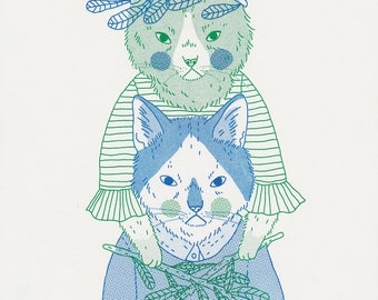Cat Magic Two Colour Risograph Print