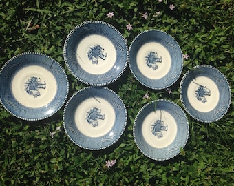 Currier and Ives Blue by Royal (USA) Set of 6 Saucers