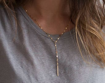 Short Lace Chain Y Necklace Gold, Silver, or Rose - Lariat Necklace - Layering Y Necklace Gold Fill, Sterling Silver, Rose Gold Fill LN122_Y