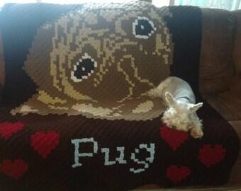 Pug crochet blanket