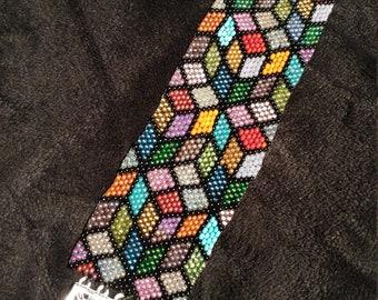 Multi-color Peyote Stitch Bracelet
