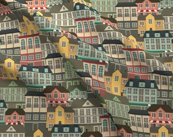 City Buildings Fabric - City Life By Juliabadeeva - City Buildings Homes Cotton Fabric By The Yard With Spoonflower