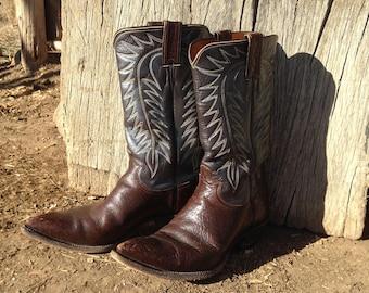 1960-1970's Vintage Justin Cowboy Boots Authentic Beautiful Leather Men's 8 1/2 Women's 10