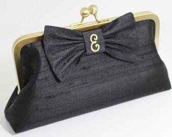 Personalized Silk Dupioni Bow Clutch - Wedding Clutch - Bridesmaid Clutch - Black Clutch