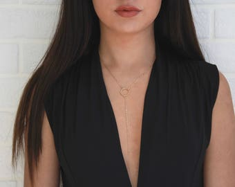 Dainty Circle Y-Necklace • Gold Lariat Necklace • Simple Layering Necklace